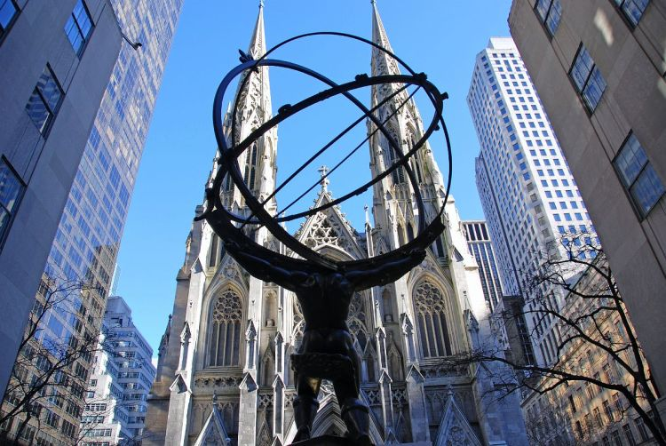 New York City Rockefeller Center 05 Atlas Statue And St Patricks Cathedral