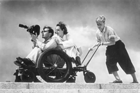 Leni Riefenstahl bei Dreharbeiten